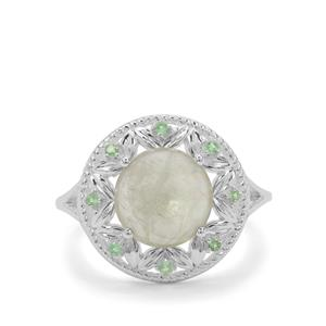 Menderes Diaspore Ring with Tsavorite Garnet in Sterling Silver 3.07cts