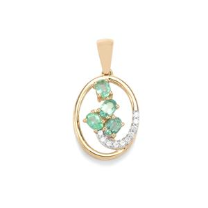 Zambian Emerald Pendant with White Zircon in 9K Gold 0.57ct