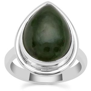 Nephrite Jade Ring in Sterling Silver 10cts