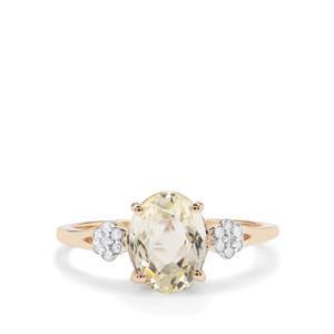 Minas Novas Hiddenite Ring with Diamond in 9K Gold 2.23cts