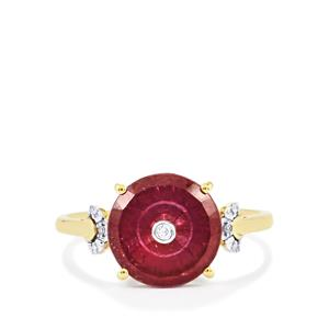 Lehrer TorusRing Malagasy Ruby Ring with Diamond in 10K Gold 3.67cts (F)