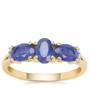 Burmese Blue Sapphire Ring with Diamond in 9K Gold 2cts