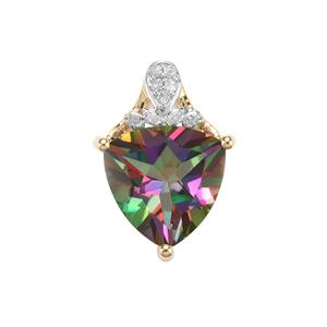 Mystic Topaz Pendant with Diamond in 9K Gold 2.82cts
