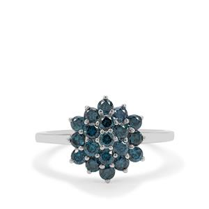1ct Blue Diamond Sterling Silver Ring