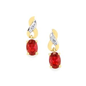 Cruzeiro Rubellite & White Zircon 10K Gold Earrings ATGW 1.53cts