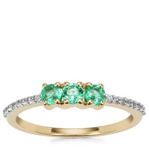 Ethiopian Emerald Ring with Zircon in 10K Gold 0.43cts