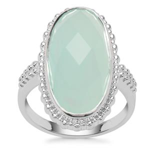 Aqua Chalcedony Ring in Sterling Silver 10.43cts