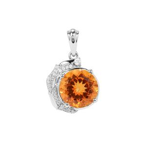 Padparadscha Quartz Pendant with White Zircon in Sterling Silver 5.15cts