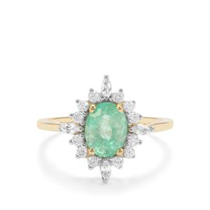 Colombian Emerald & White Zircon 9K Gold Ring ATGW 1.85cts