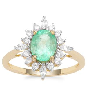 Colombian Emerald Ring with White Zircon in 9K Gold 1.85cts