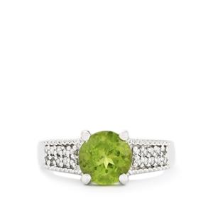 Changbai Peridot & White Topaz Sterling Silver Ring ATGW 2.31cts