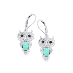 Sleeping Beauty Turquoise, Black Spinel Earrings with White Zircon in Sterling Silver 1.84cts