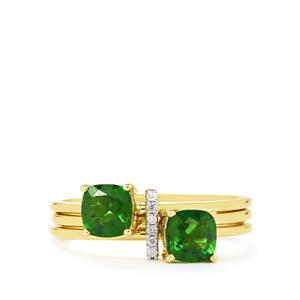 Chrome Diopside Set of 3 Stacker Rings with Diamond in 9K Gold 1.20cts