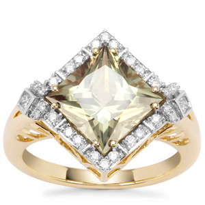 Csarite® Ring with Diamond in 18K Gold 4.11cts