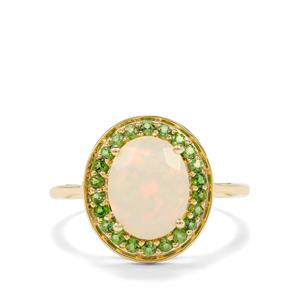 Ethiopian Opal & Chrome Diopside 9K Gold Ring ATGW 1.76cts