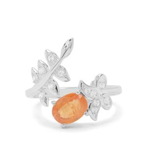 Mandarin Garnet Ring with White Zircon in Sterling Silver 1.68cts