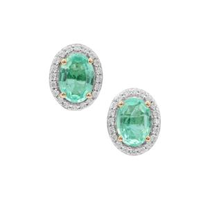Siberian Emerald Earrings with White Zircon in 9K Gold 1.65cts