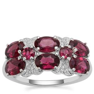 Tocantin Garnet Ring with White Zircon in Sterling Silver 3.95cts