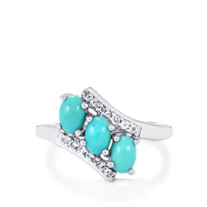 Sleeping Beauty Turquoise & White Topaz Sterling Silver Ring ATGW 1.43cts