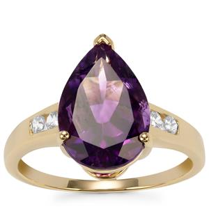 Moroccan Amethyst Ring with White Zircon in 9K Gold 3.82cts