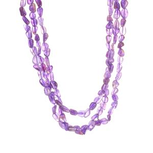 Zambian Amethyst 3 Strand Necklace in Sterling Silver 320.40cts