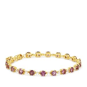 Mahenge Purple Spinel Bracelet with White Zircon in 9K Gold 7.92cts