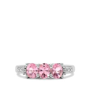 Mozambique Pink Spinel & White Topaz Sterling Silver Ring ATGW 1.11cts
