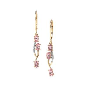 Mahenge Pink Spinel Earrings with Diamond in 10k Gold 1.57cts