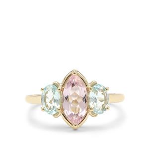 Cherry Blossom™ Morganite Ring with Aquaiba™ Beryl in 9K Gold 1.70cts