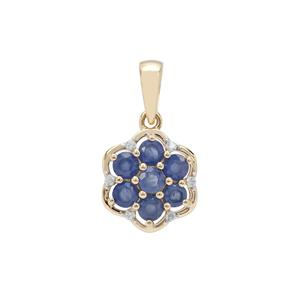 Burmese Blue Sapphire Pendant with White Zircon in 9K Gold 1.44cts