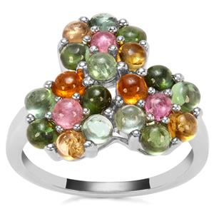 Rainbow Tourmaline Ring in Sterling Silver 3.15cts