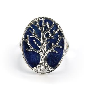 3cts Sar-i-Sang Lapis Lazuli Sterling Silver Tree Of Life Ring