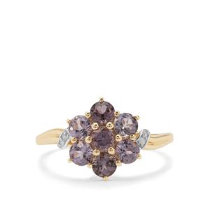 Mahenge Purple Spinel Ring with Diamond in 9K Gold 1.33cts