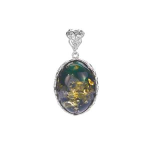 Baltic Green Amber Sterling Silver Necklace (24 x 17mm)