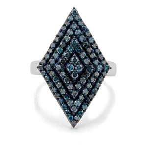 1.15ct Blue Diamond Sterling Silver Ring