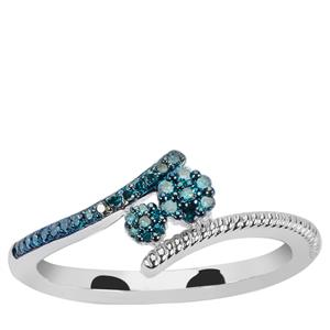 Blue Diamond Ring  in Sterling Silver 0.15ct