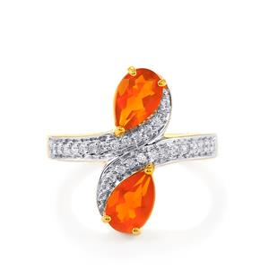 AA American Fire Opal Ring with White Zircon in Gold Vermeil 1.50cts