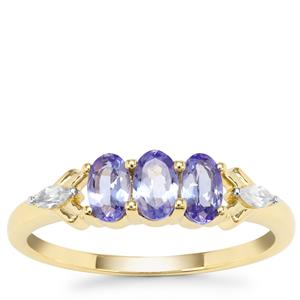 AA Tanzanite Ring with White Zircon in 9K Gold 0.84ct