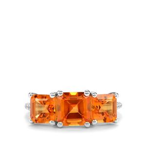 Asscher Cut Padparadscha Quartz & White Topaz Sterling Silver Ring ATGW 4cts