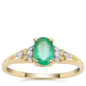 Colombian Emerald Ring with White Zircon in 9K Gold 0.86ct