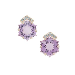 Wobito Snowflake Cut Rose De France Amethyst Earrings with Marambaia London Blue Topaz in 9K Gold 8.35cts