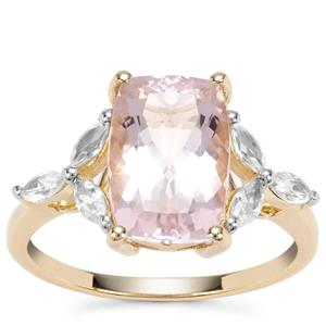 Nigerian Morganite Ring with White Zircon in 9K Gold 3.79cts
