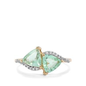 Paraiba Tourmaline Ring with White Zircon in 10K Gold 1.70cts