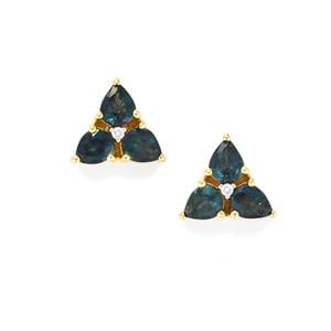 Nigerian Blue Sapphire Earrings with Diamond in 18k Gold 2.28cts