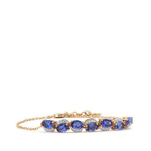 AAA Tanzanite Bracelet with Diamond in 18K Gold 3.33cts