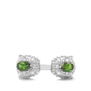 Chrome Diopside & White Zircon Sterling Silver Ring ATGW 1.85cts