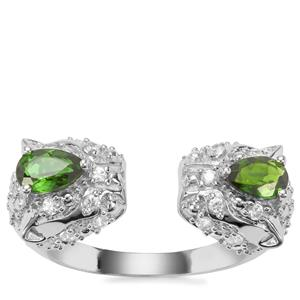 Chrome Diopside Ring with White Zircon in Sterling Silver 1.85cts