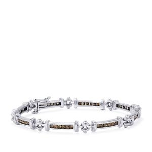 1.70ct Champagne Diamond Sterling Silver Bracelet