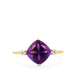 Moroccan Amethyst & White Zircon 9K Gold Ring ATGW 2.15cts