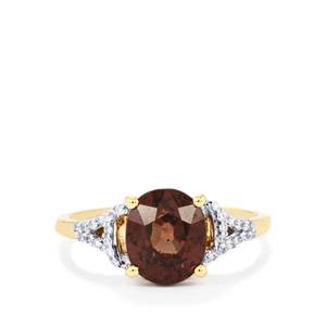Bekily Color Change Garnet Ring with Diamond in 18k Gold 3.69cts